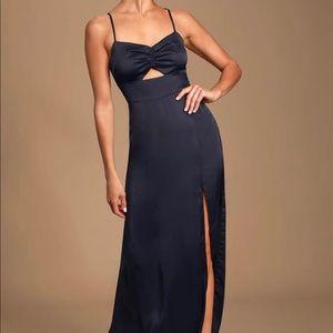 Navy Blue Print Satin Maxi Dress! Size m(Size 6-8)